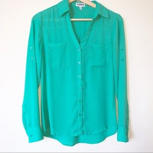 Express Green Portofino  Long Sleeve Shirt XS